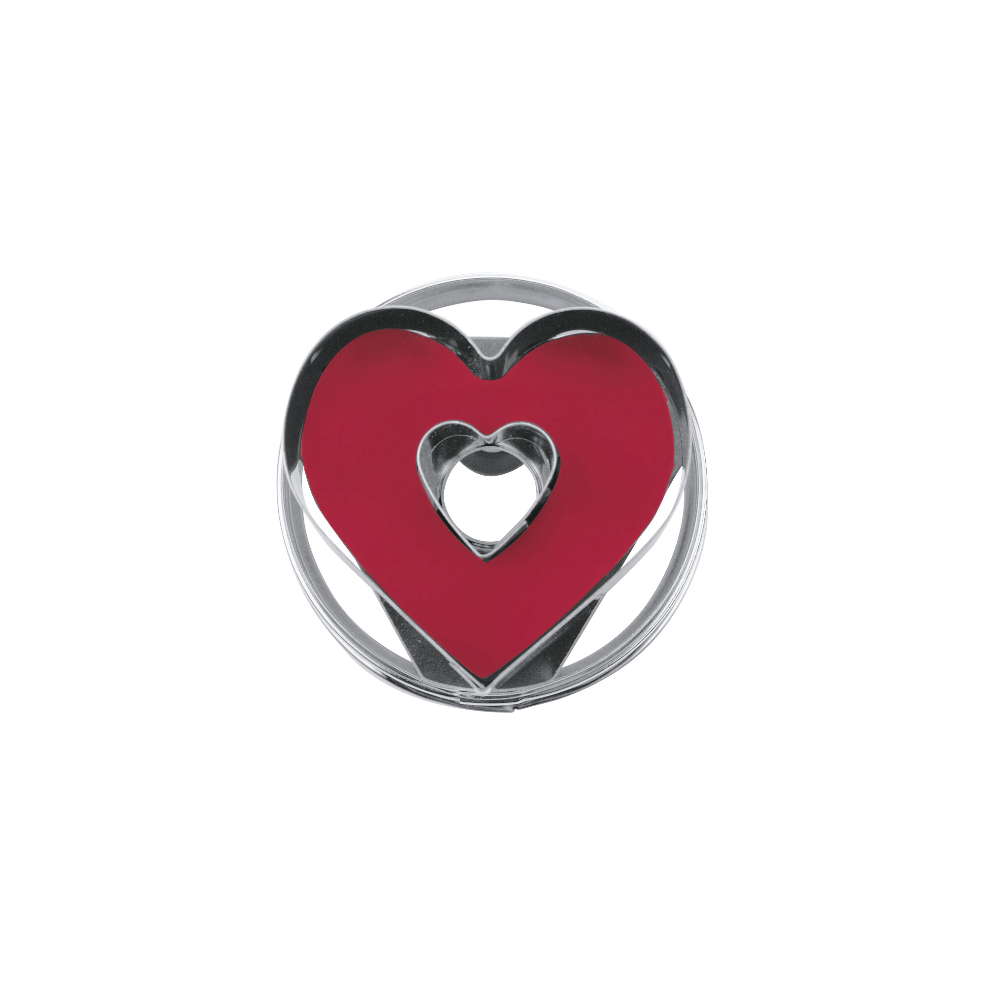 Linzer cookie cutter with ejector - Heart with inside heart - demountable