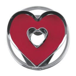 Linzer-Ausstecher mit Auswerfer - Herz mit Innenherz - zerlegbar
