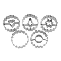 Linzer-Ausstecher - Spitzbub - Ring, Herz, Stern, Tanne, Aussenring - Set, 5-teilig