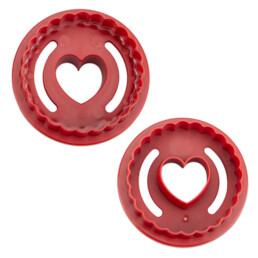 Linzer-Ausstecher - Spitzbub Herz - gewellt - doppelseitig