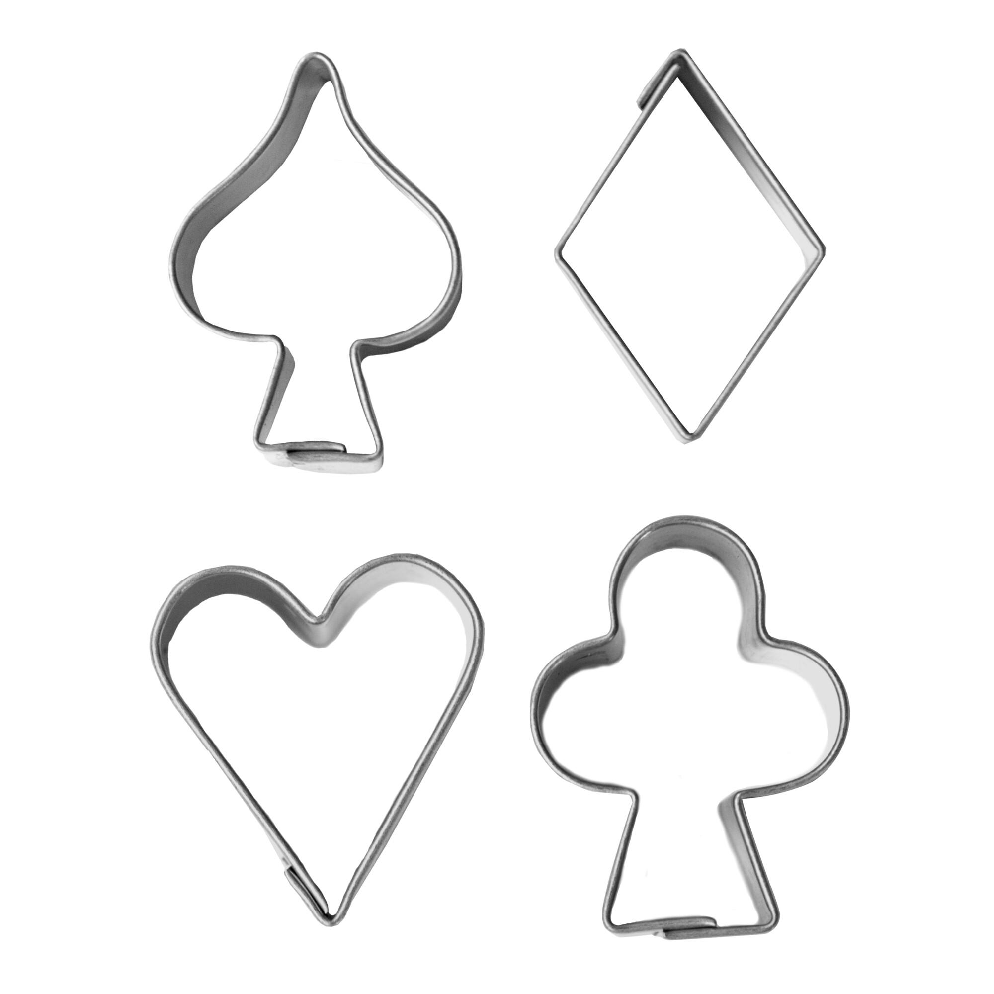 Ausstecher - Spielkarten-Symbole - Set, 4-teilig
