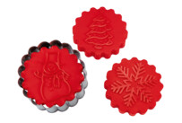 Cookie cutter with stamp and ejector - Sweet winter - with 3 change motives - demountable, 5 parts