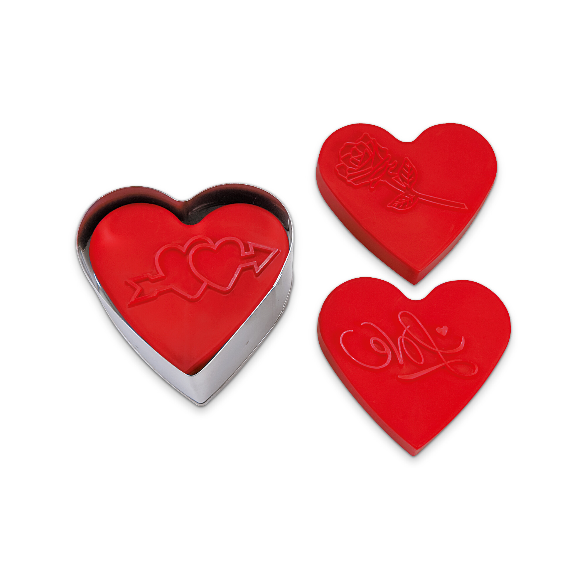 Cookie cutter with stamp and ejector - Sweet Heart - with 3 change motives - demountable, 5 parts