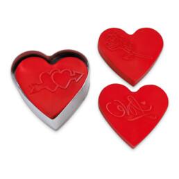 Präge-Ausstecher mit Auswerfer - Sweet Heart - mit 3 Wechselmotiven - zerlegbar, 5-teilig