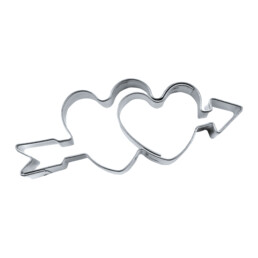 Cookie cutter with stamp - Doubles heart with arrow