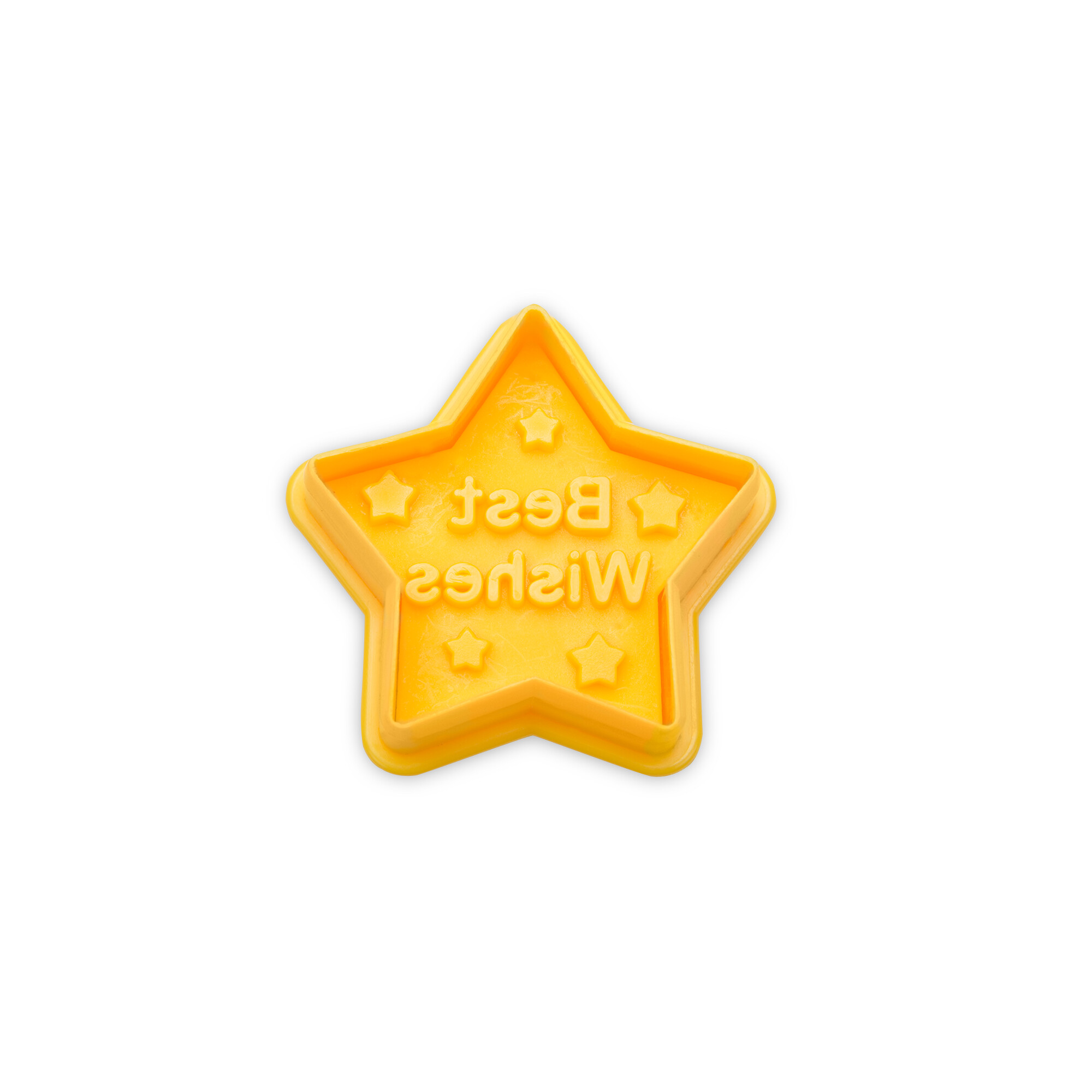 Cookie cutter with stamp and ejector - Star - Best Wishes