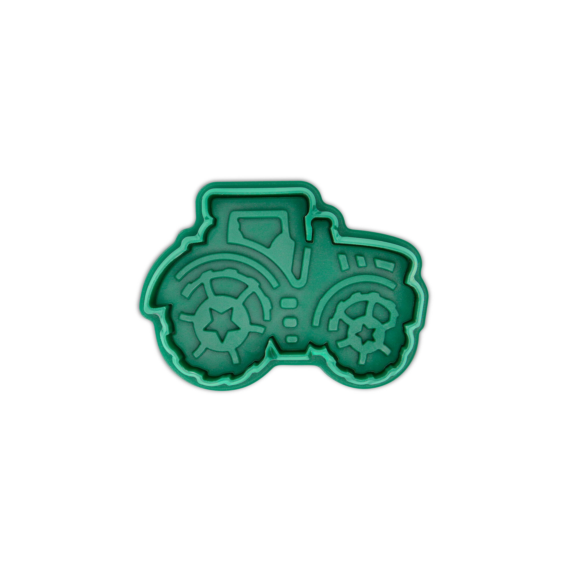 Cookie cutter with stamp and ejector - Tractor