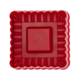 Cookie cutter with stamp and ejector - Square waved - with embossing and ejector