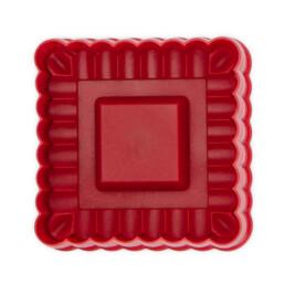 Präge-Ausstecher mit Auswerfer - Quadrat gewellt - mit Prägung und Auswerfer