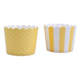 Cupcake-Backform - Sonnengelb-Weiß - Mini - 12 Stück