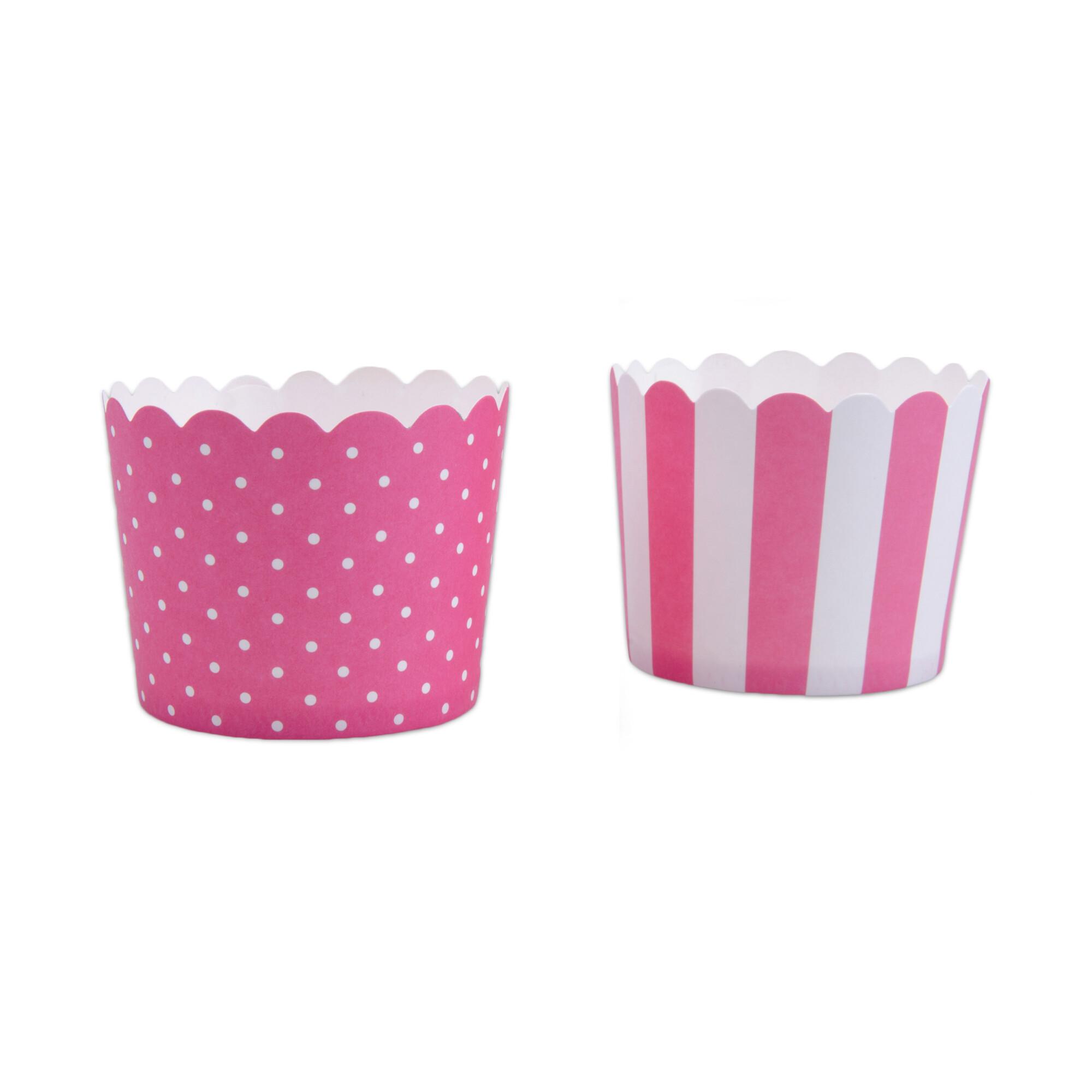 Cupcake liner - Pink white - Mini - 12 pieces