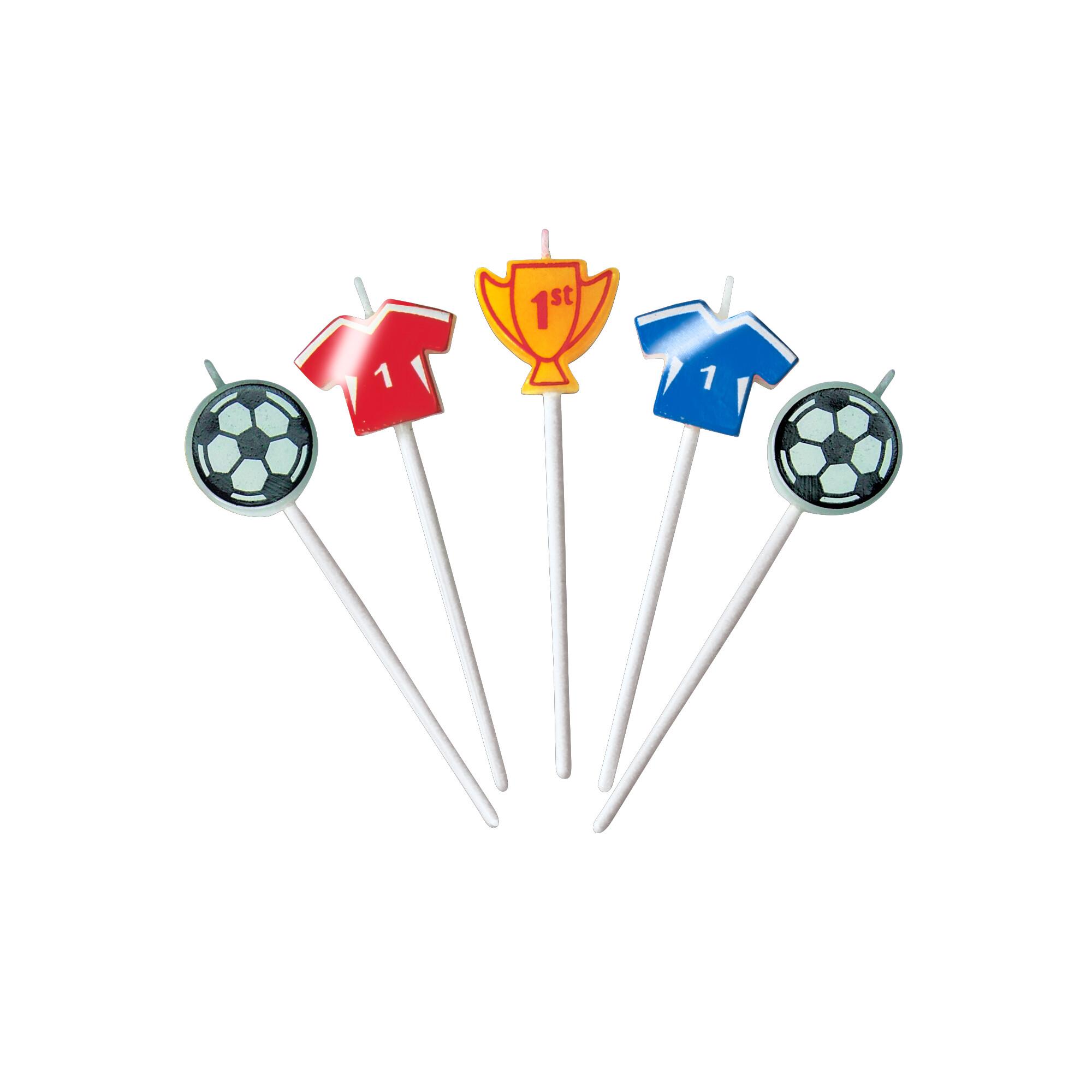 Kerzen - Fußball - Sticks - Set, 5-teilig