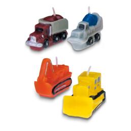 Kerzen - Baustellenfahrzeuge - Set, 4-teilig