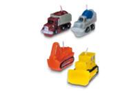 Candles - Construction site vehicles - Set, 4 parts