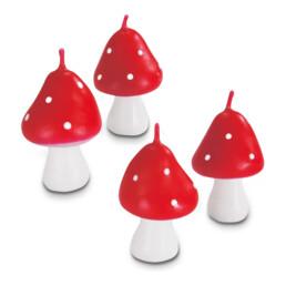Kerzen - Fliegenpilz - Set, 4-teilig