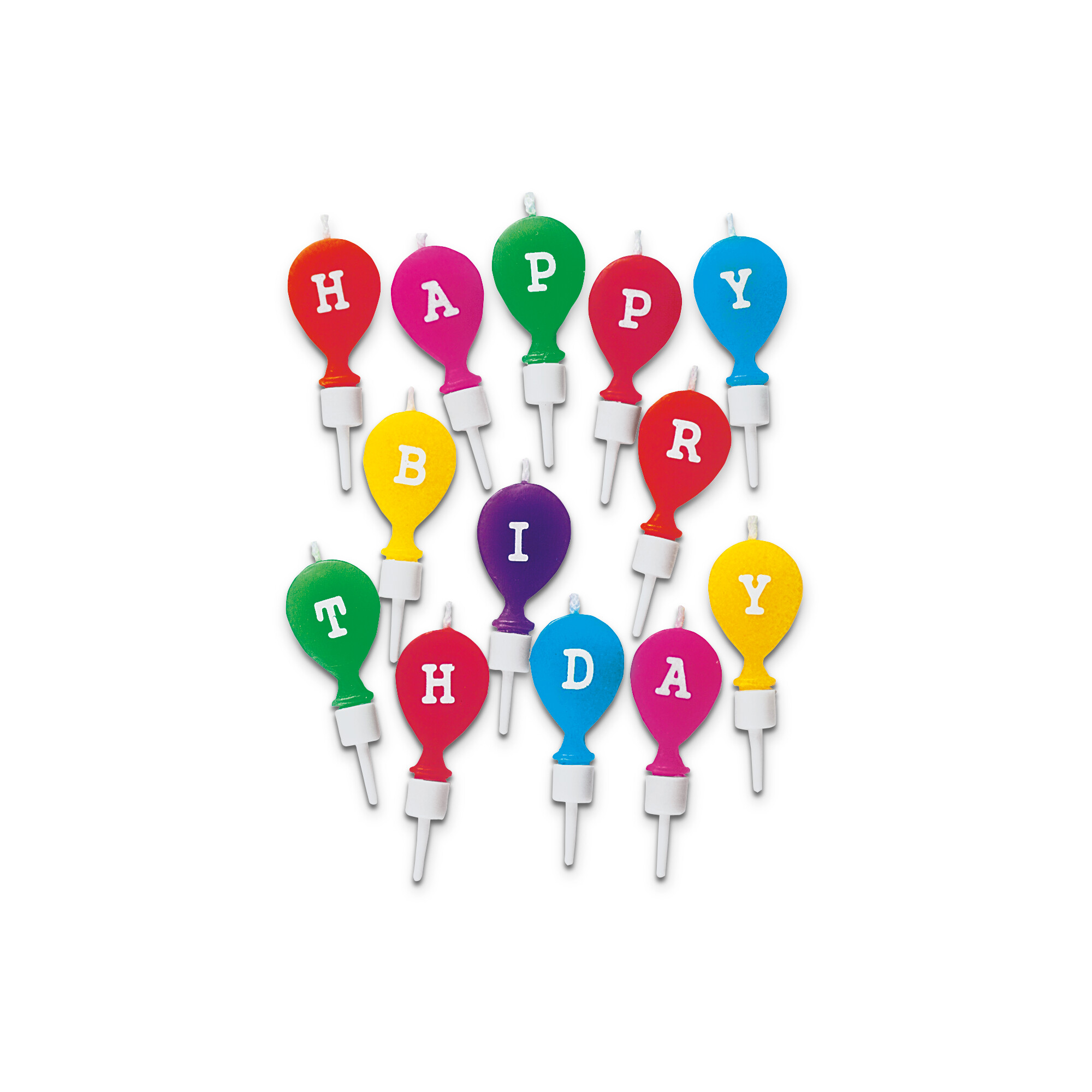 Candles - Happy Birthday - with holder - Set, 13 parts