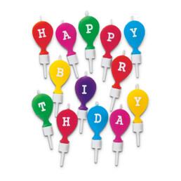 Kerzen - Happy Birthday - mit Halter - Set, 13-teilig