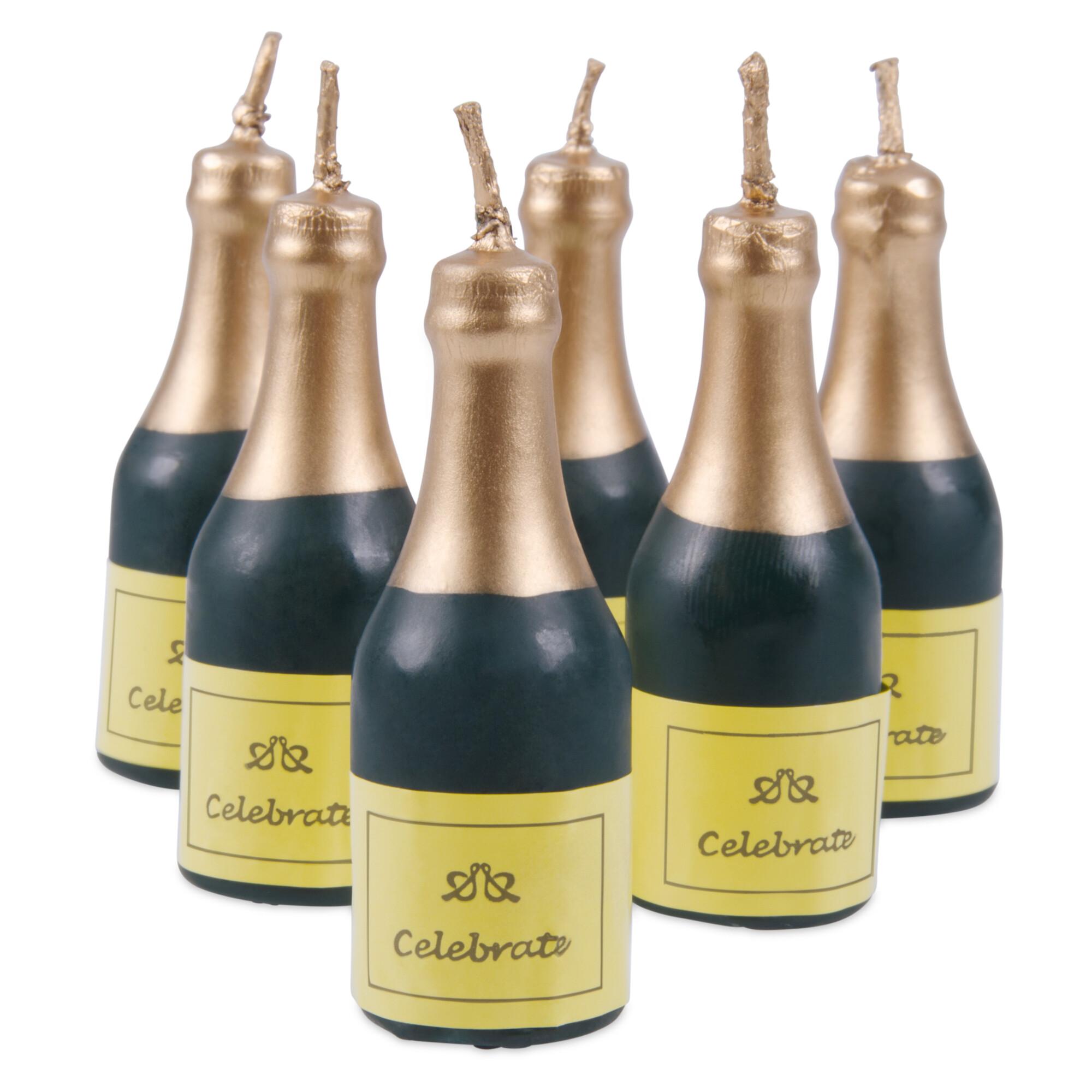 Kerzen - Sekt-Flasche - Set, 6-teilig