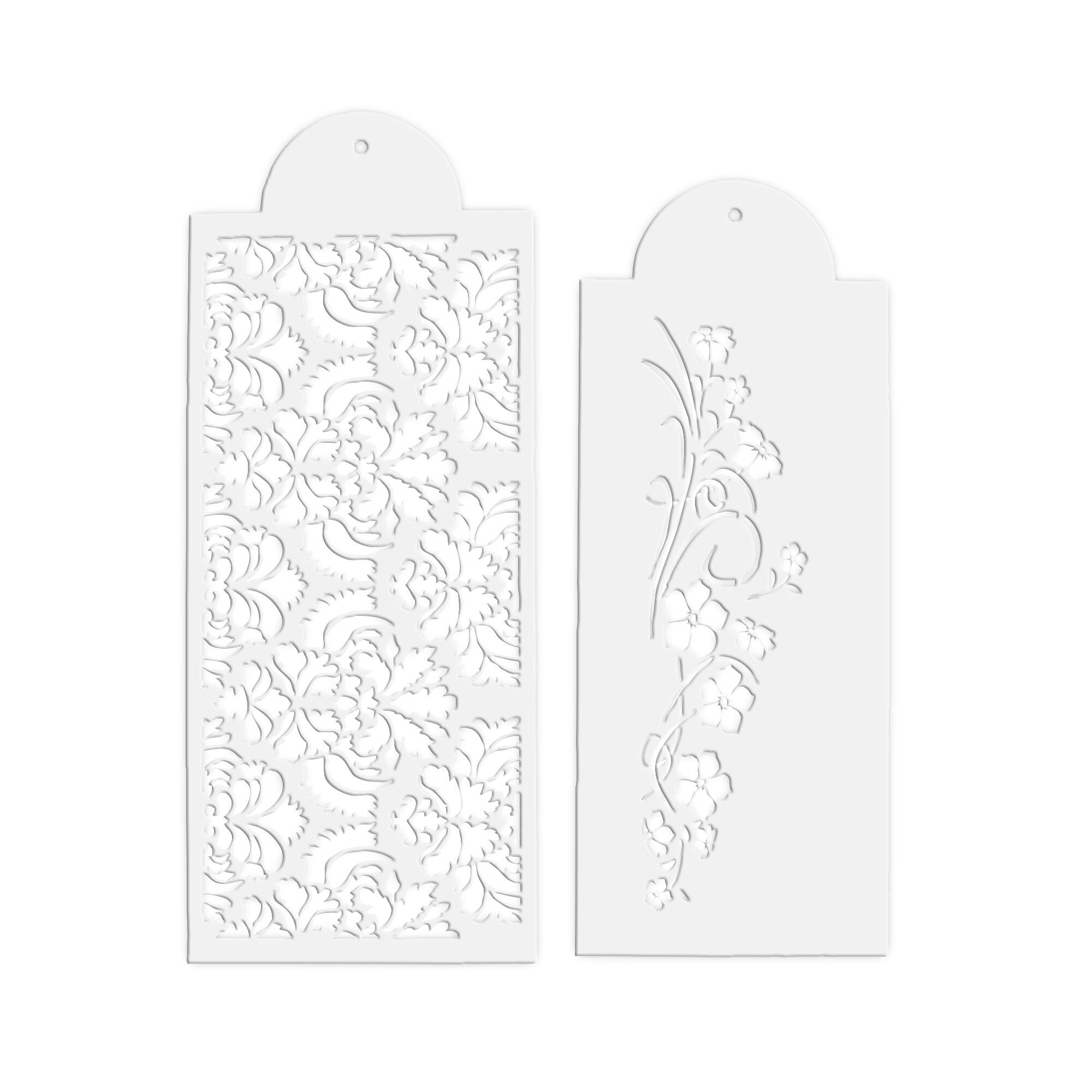 Decorative stencil - Flower tendril - Set, 2 parts