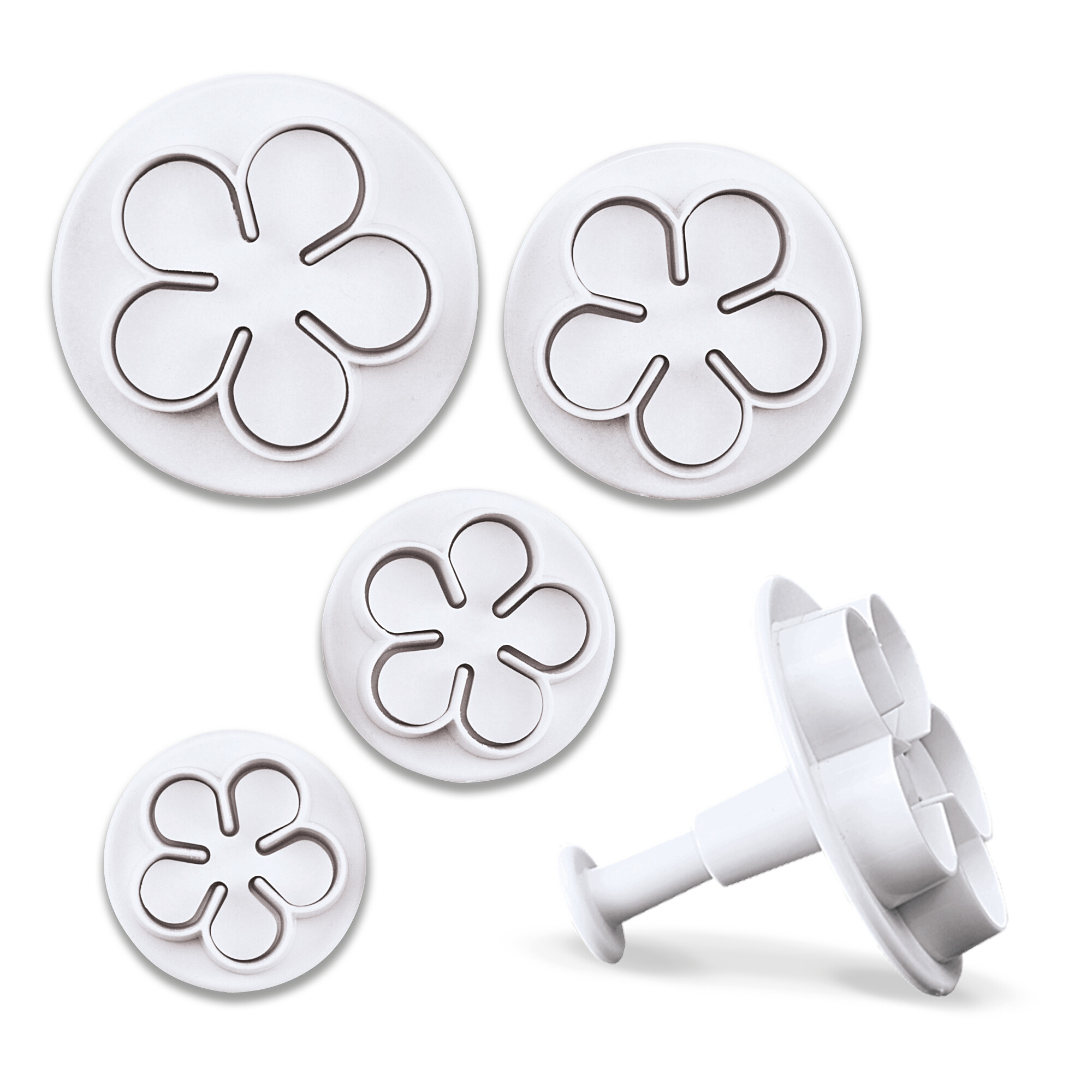 Professional cutter with ejector - Roses & Flowers - Set, 4 parts