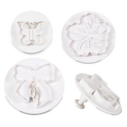Profi-Ausstecher mit Auswerfer - Schmetterling – Blüte – Schleife - Set, 3-teilig